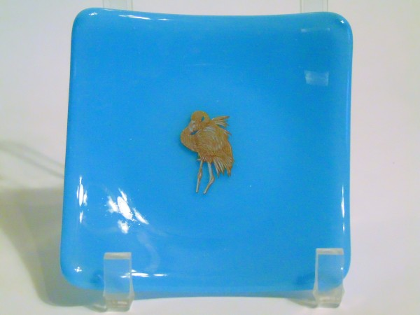 Small plate-Silver flamingo on cyan