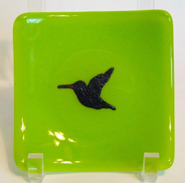 Small dish-Spring green with copper hummingbird