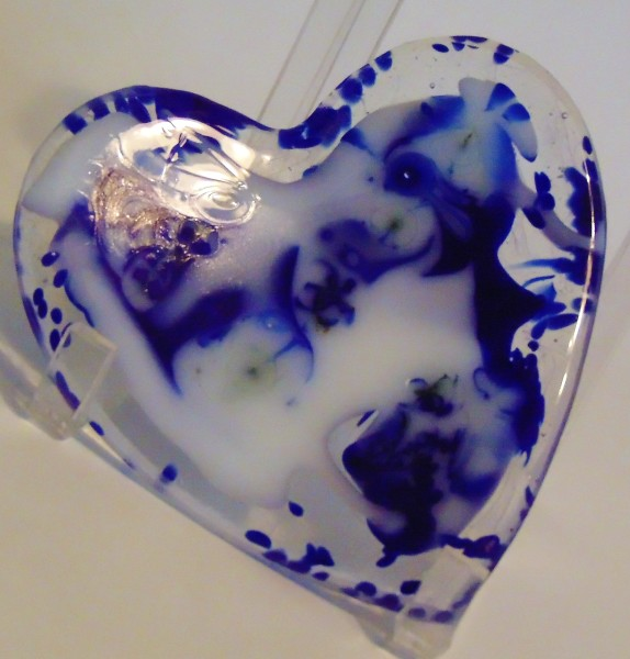 Heart Dish-Blue/White Swirl