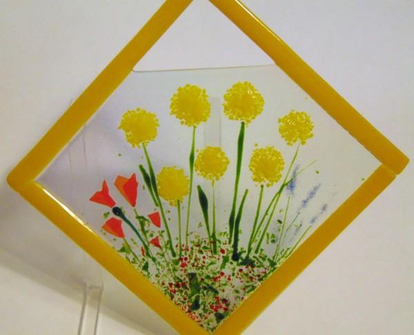 Garden Hanger-Diagonal with Yellow Poms & Poppies