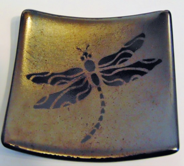 Plate with Dragonfly-Gold/Silver Irid