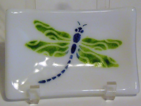 Soap Dish/Spoon Rest-Dragonfly on White