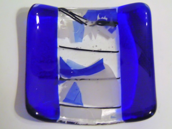 Small dish-Cobalt with white and blue confetti