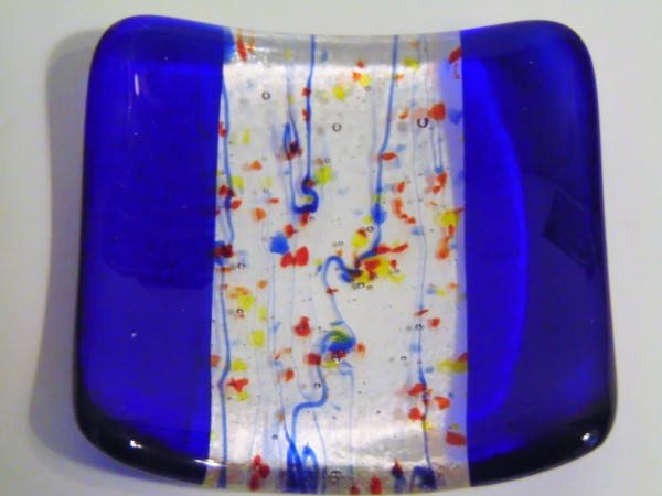 Small dish-Cobalt with blue stringer and red, blue frit