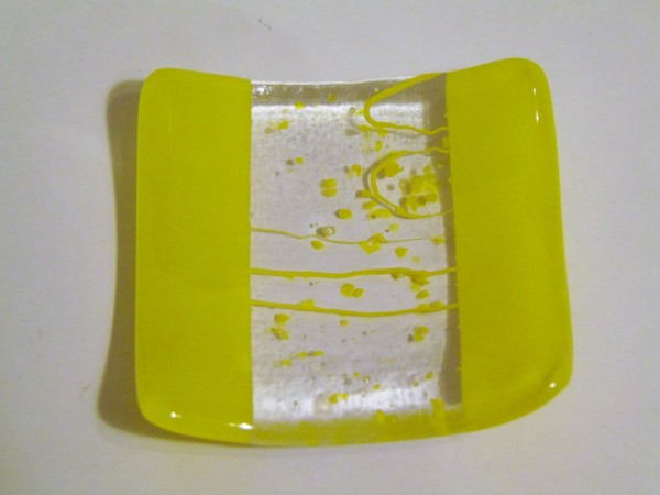 Small dish-Yellow with Stringer/Frit