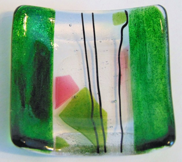 Small dish-Green with Stringer/Confetti