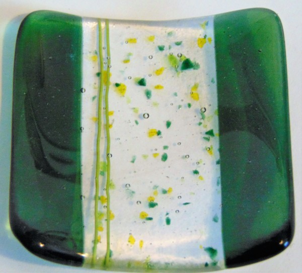 Small dish-Green with Yellow/Green Stringer/Frit