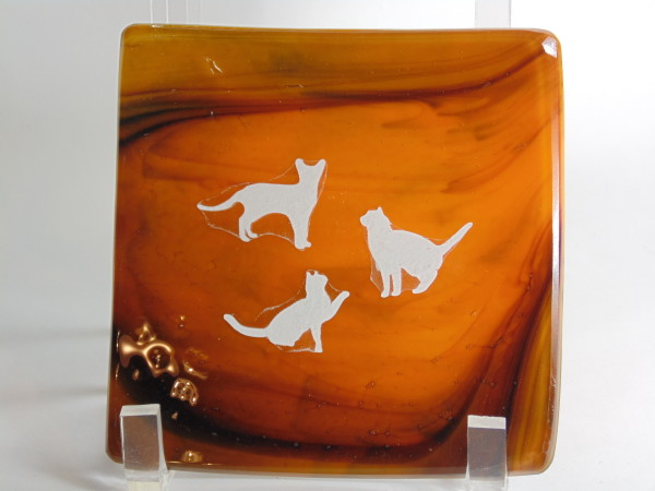 Small dish-Orange/Purple with cats