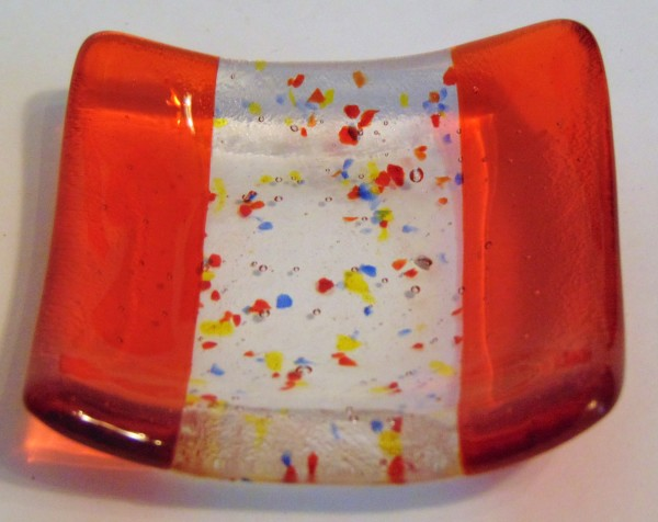 Small dish-Orange with colorful frit