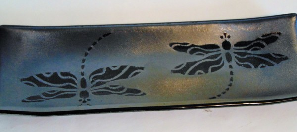 Long Tray-Double Dragonflies on Silver Irid