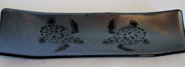 Long Tray-Two Sea Turtles on Silver Irid