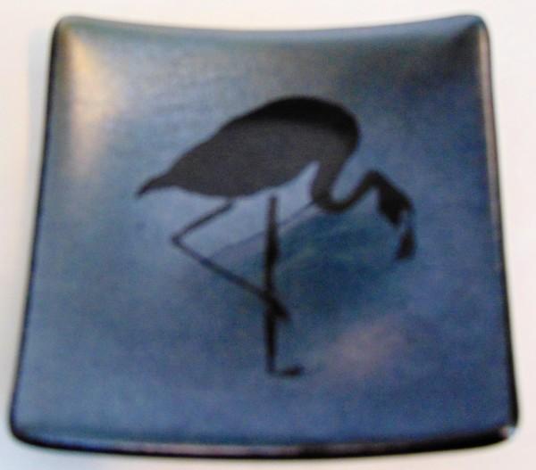 Flamingo Plate-Silver Irid