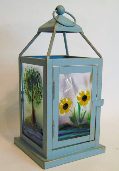 Small Lantern-Blue with Pond Scenes