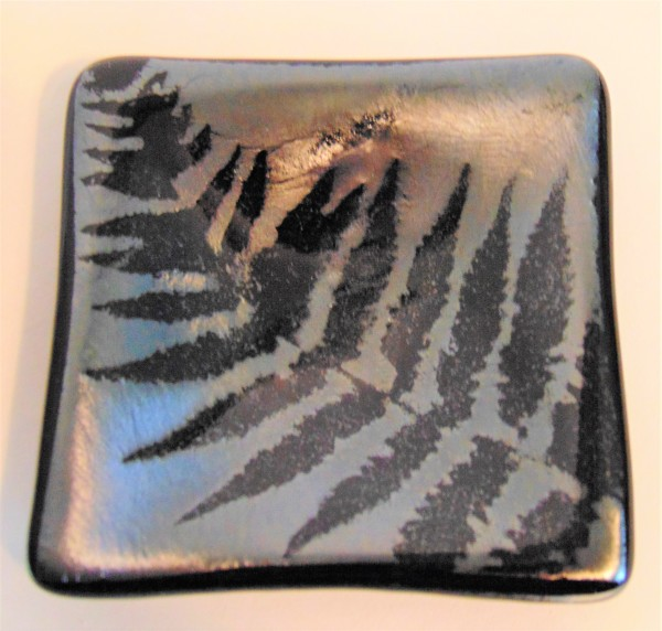 Small dish-Fern on silver irid