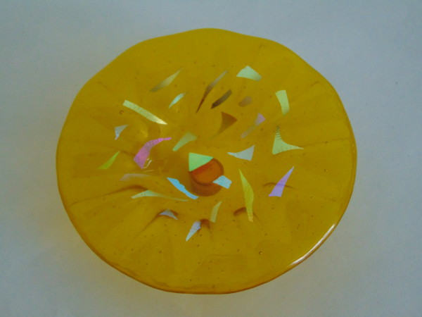 Bird Feeder-Yellow with Dichroic Accents