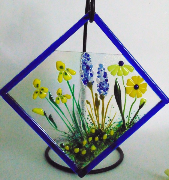 Diagonal Hanger-Yellows & Blues-Daisies, Irises, Delphiniums