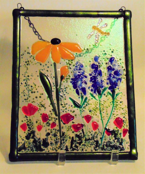 Garden Hanger-Sunflower, Delphiniums, Poppies, Dragonfly