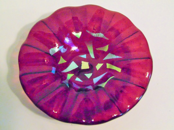 Bird Feeder-Cranberry with Dichroic Accents