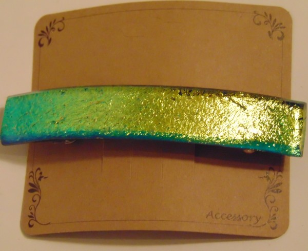 Barrette-Gold/Turquoise Dichroic, capped