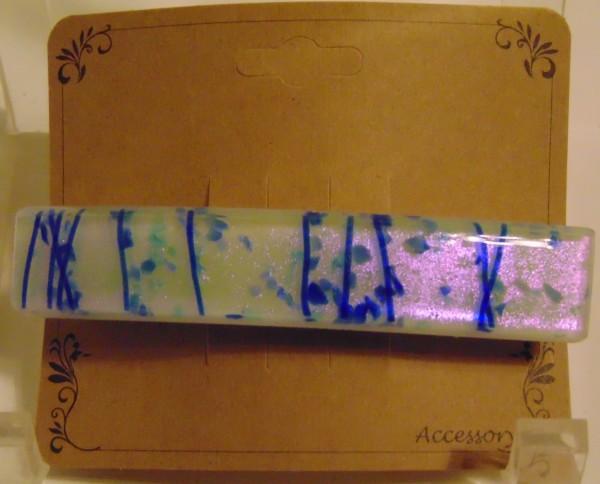 Barrette-Dichroic with Blue Stringer/Confetti