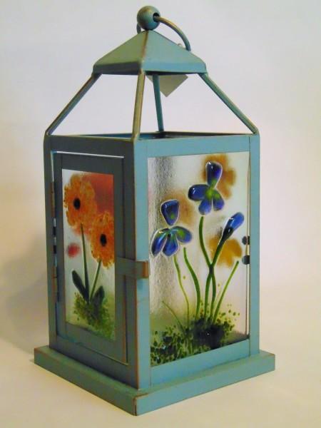 Lantern, Small with Botanical Panels, Blue
