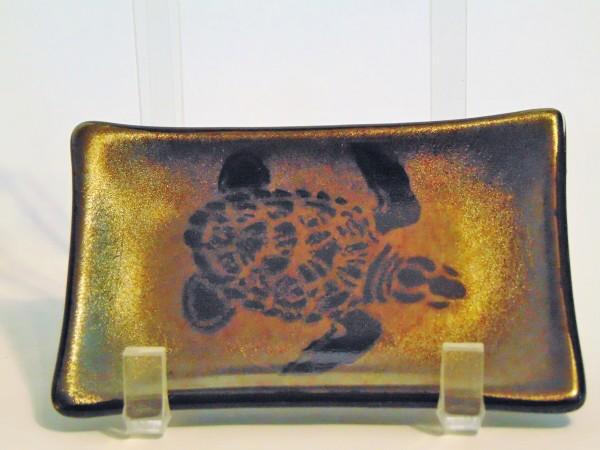 Soap Dish/Spoon Rest-Sea Turtle on Gold Irid