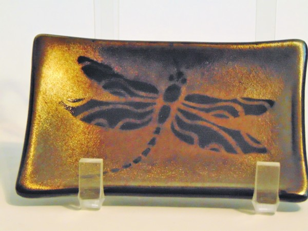 Soap Dish/Spoon Rest-Dragonfly on gold irid