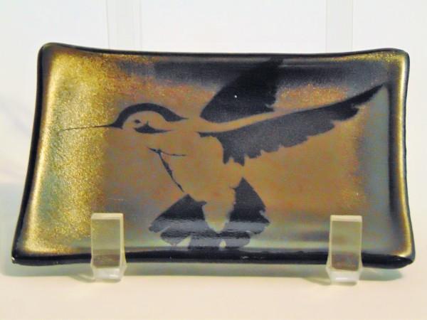 Soap Dish/Spoon Rest-Hummingbird on Gold Irid