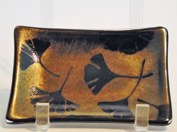 Soap Dish/Spoon Rest-Ginkgos on Gold Irid