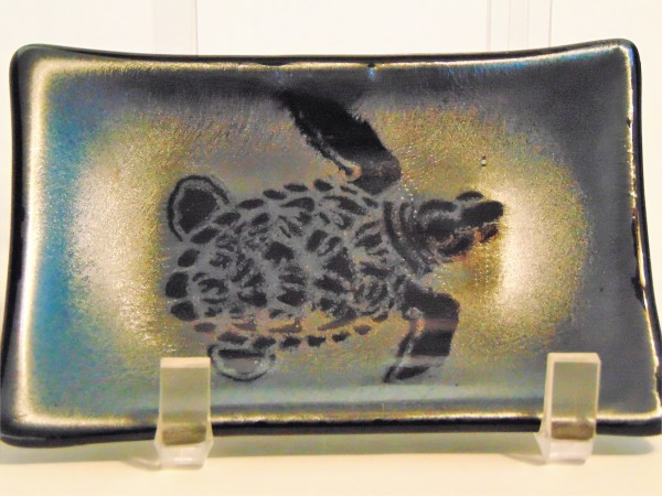 Soap Dish/Spoon Rest-Sea Turtle on silver irid