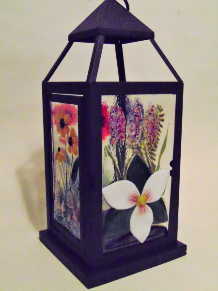 Lantern Large with Botanical Panels--Trillium, Ferns