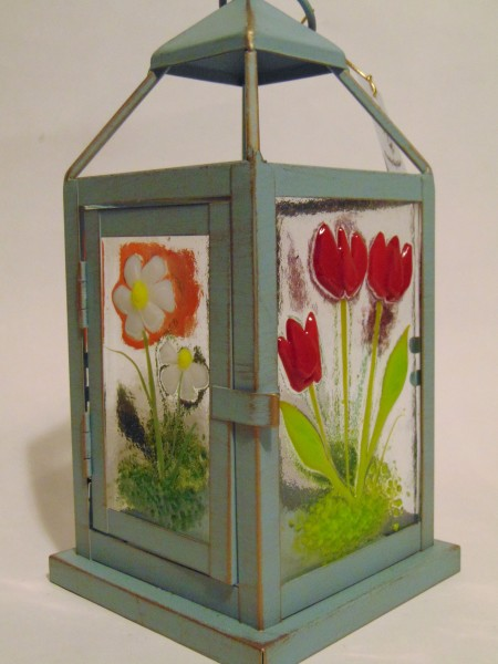 Lantern with Botanical Panels Blue