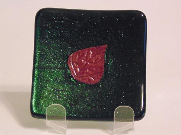 Small dish-Adventurine green with copper leaf