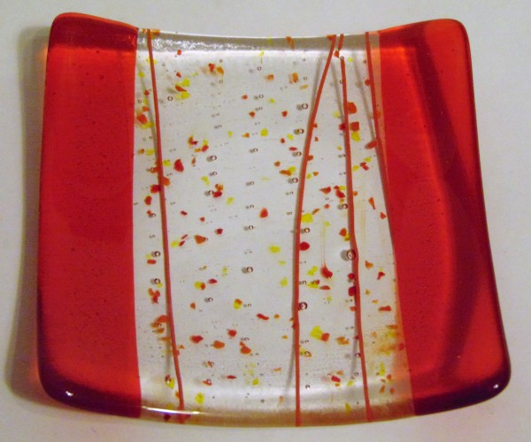 Cocktail Plate-Orange with Stringer/Frit