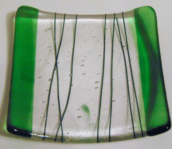 Cocktail Plate-Green with Stringer