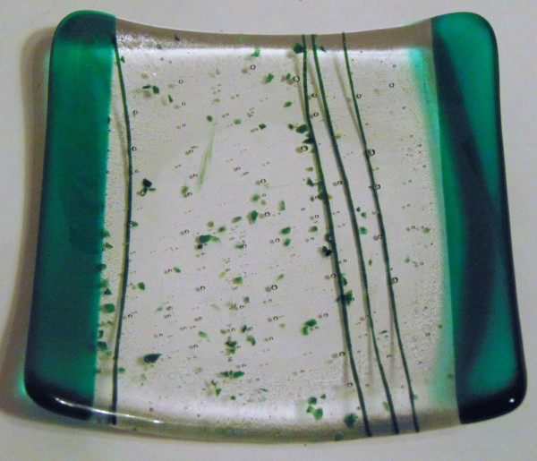 Cocktail Plate-Green with Frit/Stringer