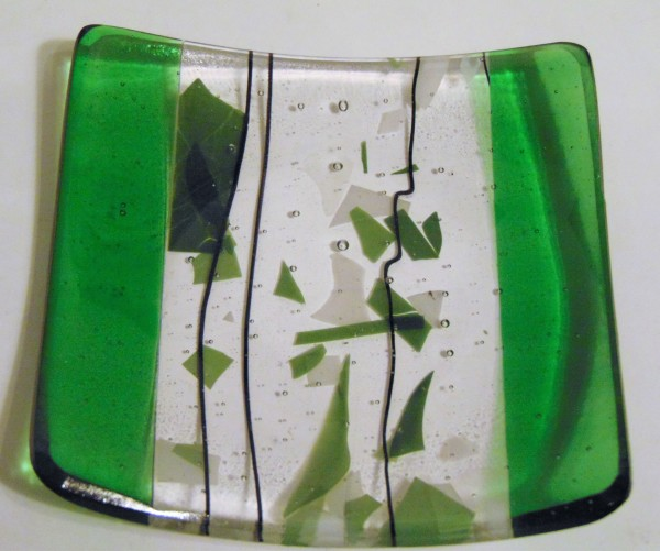 Coctail Plate-Green with Confetti/Stringer