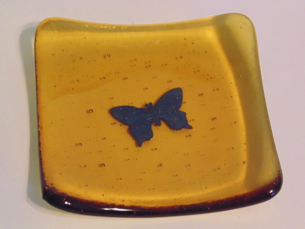 Small sushi amber with copper butterfly