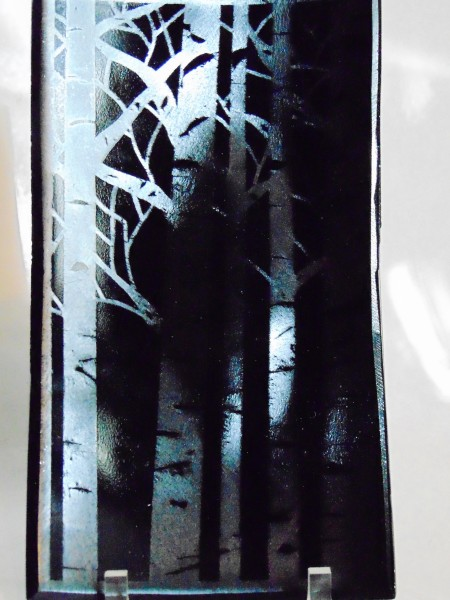 Serving Plate-Birch Trees on Silver Irid