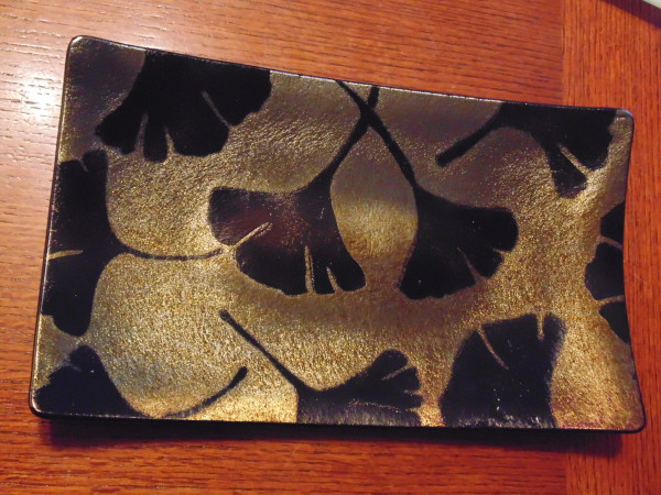 Gingko Leaf Plate on gold irid