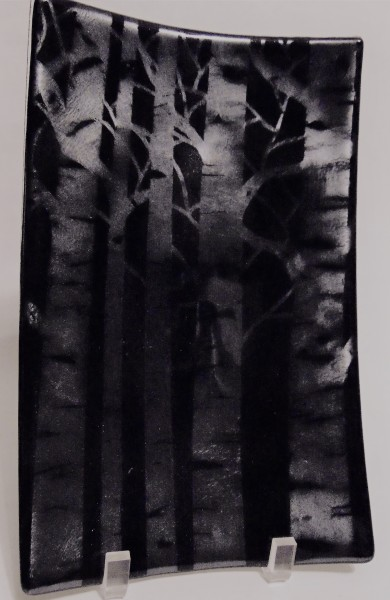 Rectangular Plate with Birches on Silver Irid