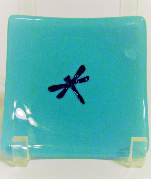 Small Dish-Turquoise with Copper Dragonfly
