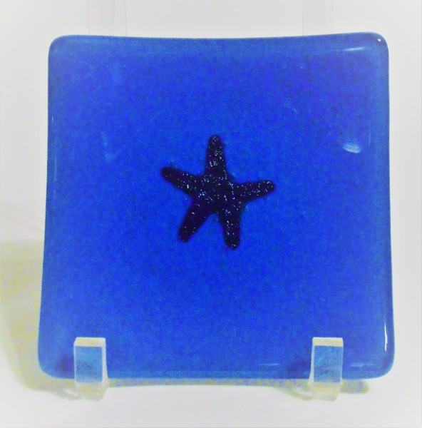 Small Dish-Egyptian Blue with Copper Starfish