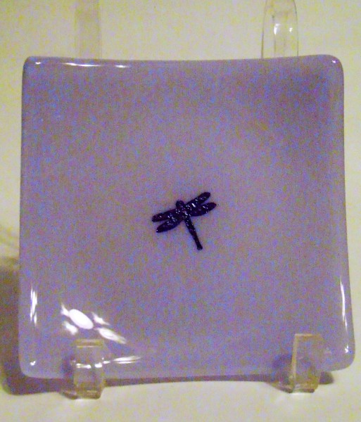 Small Plate-Neo-Lavender with Copper Dragonfly