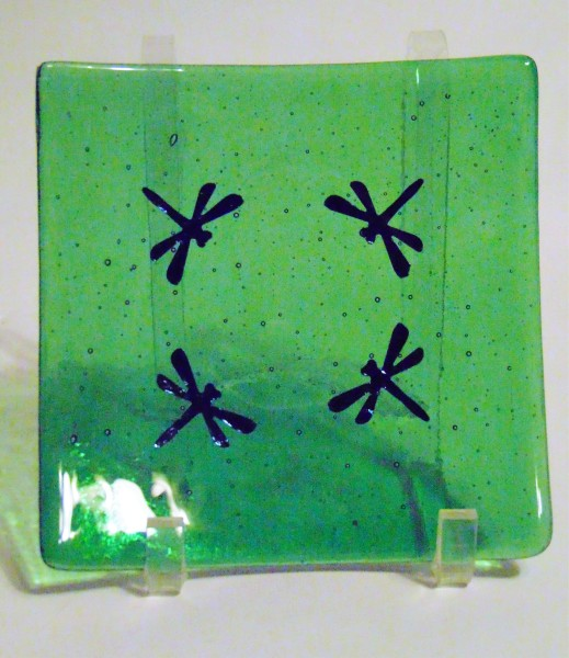 Dragonfly Plate-Green with 4 copper dragonflies
