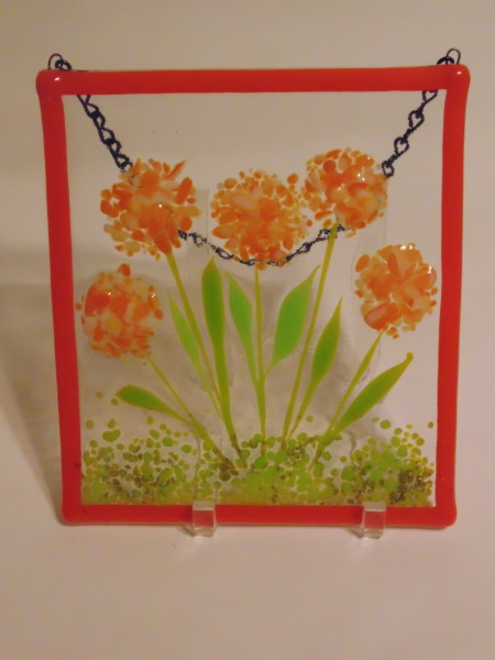 Garden Hanger-Orange Pompom Flowers