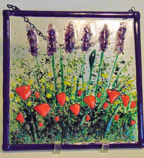 Garden Hanger-Lavender with Orange Poppies