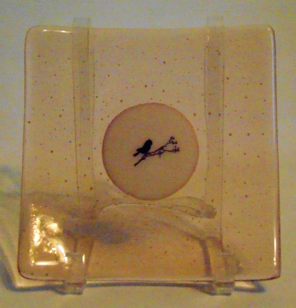 Plate-Coral Tint with Cream Center & Bird on Branch