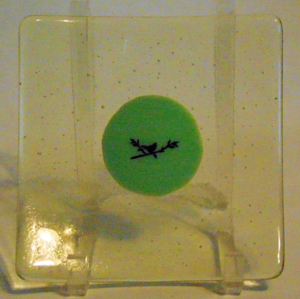 Plate-Yellow tint with Mint Green Center and Bird on Branch