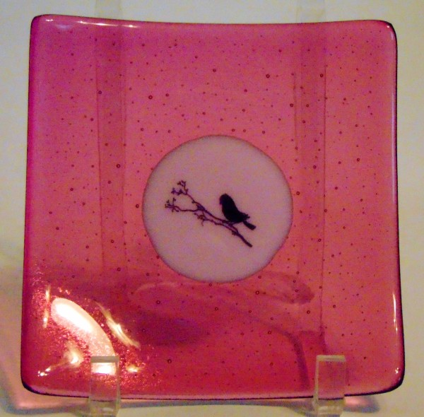 Plate-Ruby Tint with Pink Center and Bird on a Branch